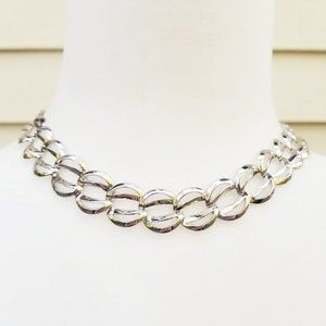 Vintage Napier Silver Tone Leaf Link Collar